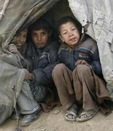 Afghan kids in camp